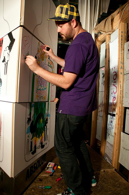 Artist James Kirwan at work